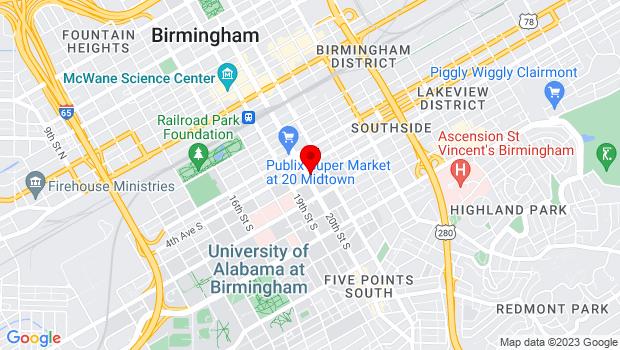 Google Map of 423 20th St S, Birmingham, AL 35233