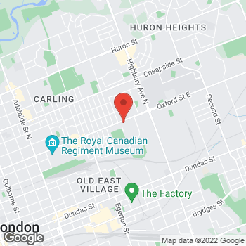 Map of Tim Hortons at 1145 Oxford St East, London, ON N5Y 3L7