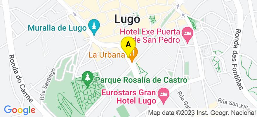 situacion en el mapa de . Direccion: c/ Obispo Aguirre, 24-26, 1º B, 27002 Lugo. Lugo