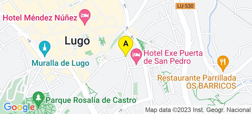 situacion en el mapa de . Direccion: C/CIUDAD DE VIGO Nº 11 2º, 27002 Lugo. Lugo