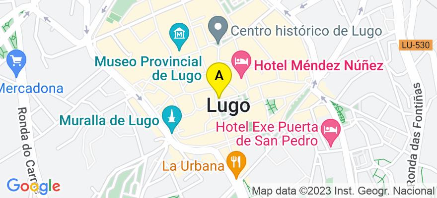 situacion en el mapa de . Direccion: Plaza Maior, 13. 2A, 27001 Lugo. Lugo