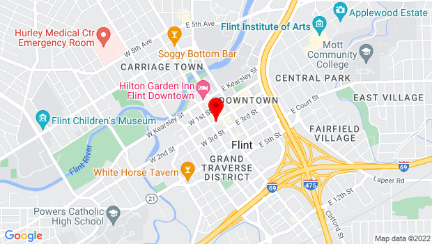 Google Map of 121 W. Second Street, Flint, MI 48502