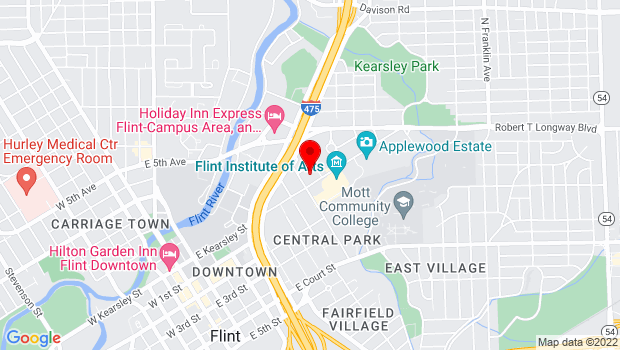 Google Map of 1025 E. Kearsley St., Flint, MI 48503