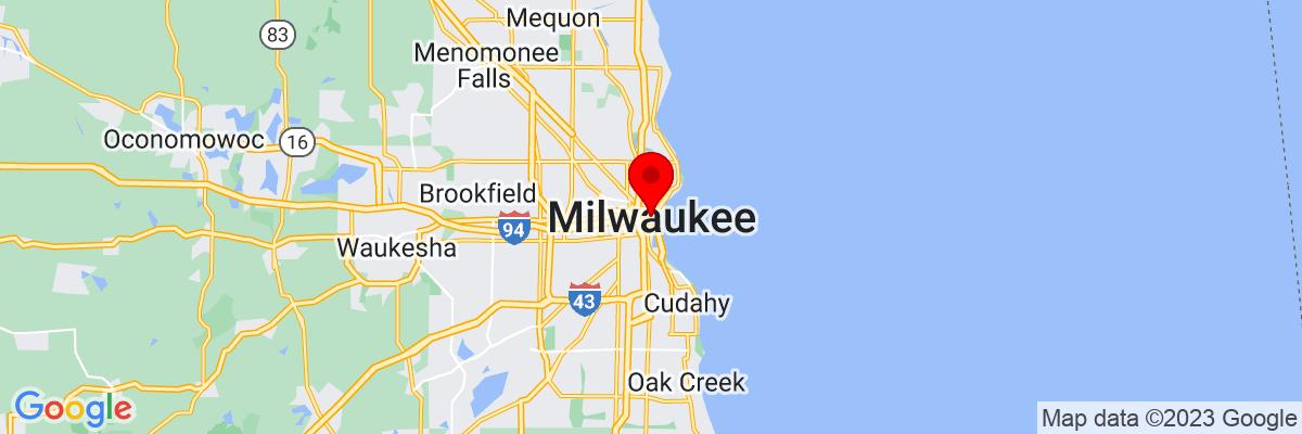 Google Map of 43.038971111111,-87.908266666667
