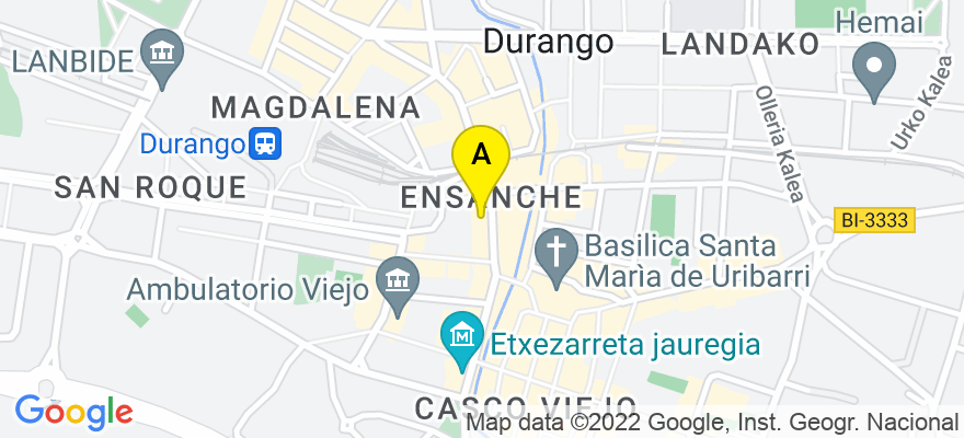situacion en el mapa de . Direccion: Uribarri 1 1º drcha, 48200 Durango. Vizcaya