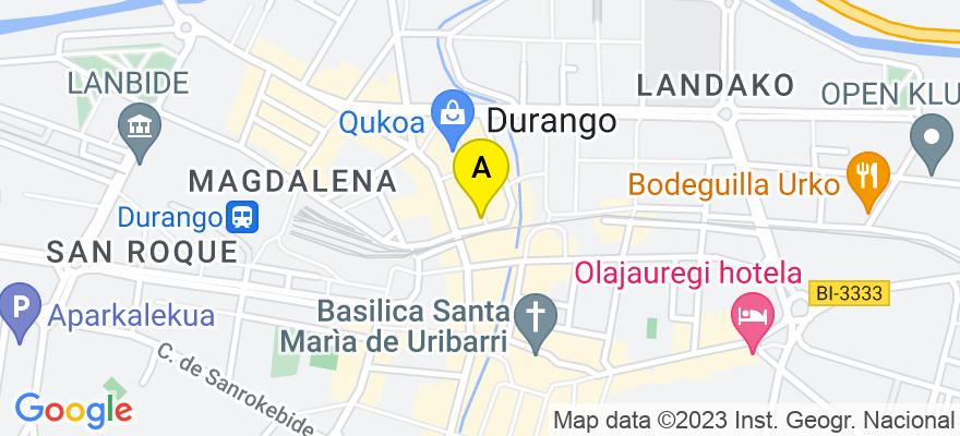 situacion en el mapa de . Direccion: Durangoko Plateruen Plaza, 1 - 1º, 48200 Durango. Vizcaya