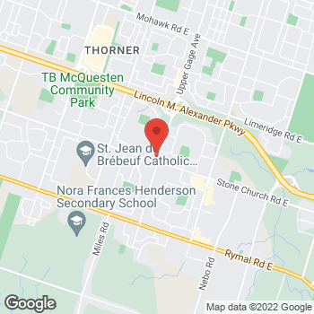 Map of Tim Hortons at 1368 Upper Gage St, Hamilton, ON L8W 1N2