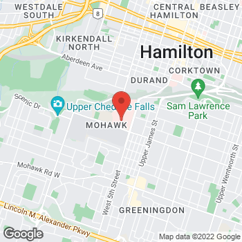 Map of Tim Hortons at 100 West 5th St, Hamilton, ON L9C 0E3