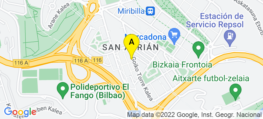 situacion en el mapa de . Direccion: C/ Goiko Torre 8, 48003 Bilbao. Vizcaya
