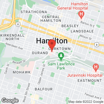 Map of Tim Hortons at 50 Charlton Ave East, Hamilton, ON L8N 4A6