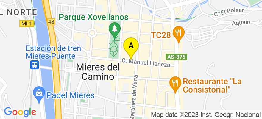 situacion en el mapa de . Direccion: Calle Manuel Llaneza 32. 1B, 33600 Mieres. Asturias