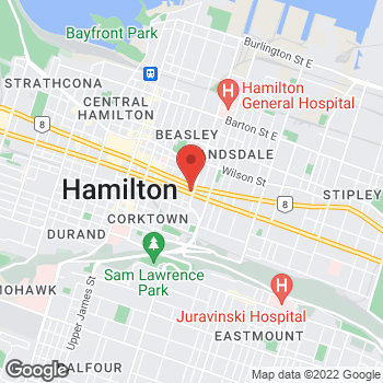 Map of Tim Hortons at 257 Main St E, Hamilton, ON L8H 1H4