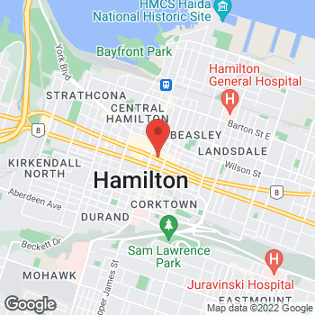 Map of Tim Hortons at 2 King St West, Hamilton, ON L8P 1A1