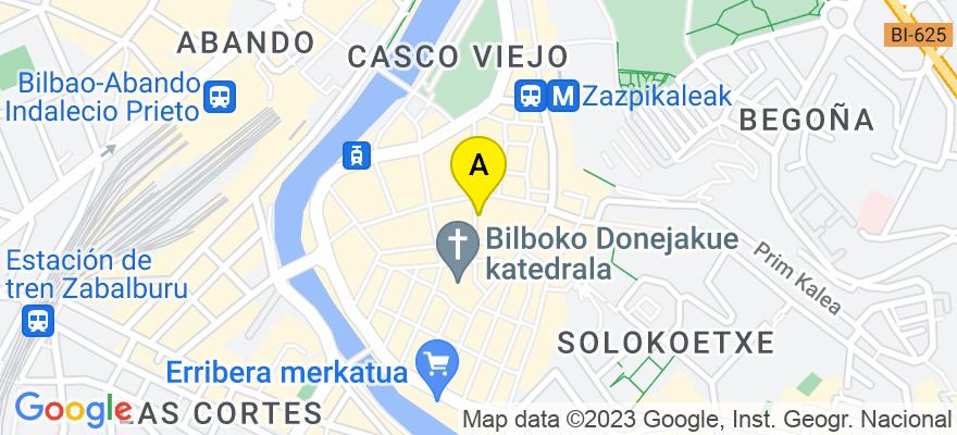 situacion en el mapa de . Direccion: Calle Correo n° 15 2° B, 48005 Bilbao. Vizcaya