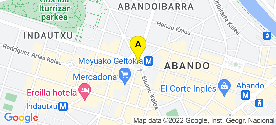 situacion en el mapa de . Direccion: HURTADO DE AMEZAGA 10-1D, DPTO.a, 48008 Bilbao. Vizcaya