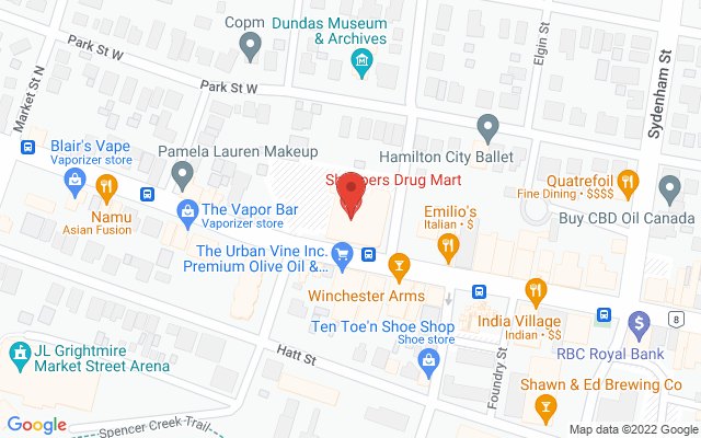 Precision Physiotherapy – Dundas Static Google Map Wide Version