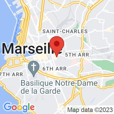 Map showing Le Cafe en Bois