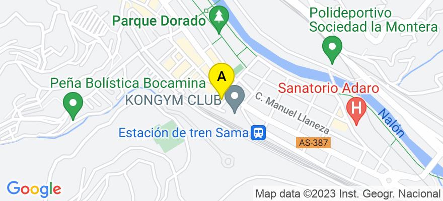 situacion en el mapa de . Direccion: C/ Alfoso Camín, 2 1º, 33900 Langreo. Asturias