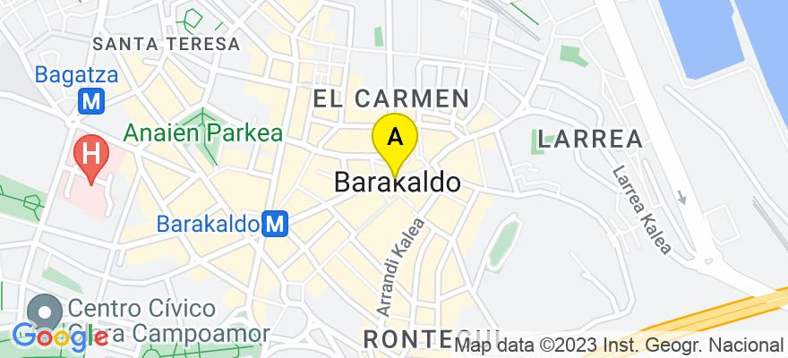 situacion en el mapa de . Direccion: Paseo de los Fueros nº 20, 1º izda, 48902 Barakaldo. Vizcaya