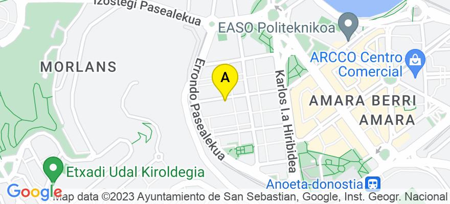 situacion en el mapa de . Direccion: C/Catalina de Erauso 17, bajo C, 20010 Donostia/San Sebastián. Guipúzcoa