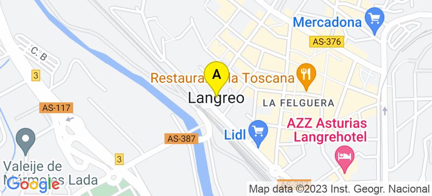 situacion en el mapa de . Direccion: Venancio Prada 15, 1ºE, 33900 Langreo. Asturias