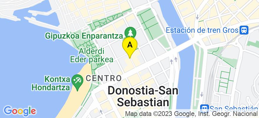 situacion en el mapa de . Direccion: Txurruka, 4 - 1º B, 20004 Donostia/San Sebastián. Guipúzcoa