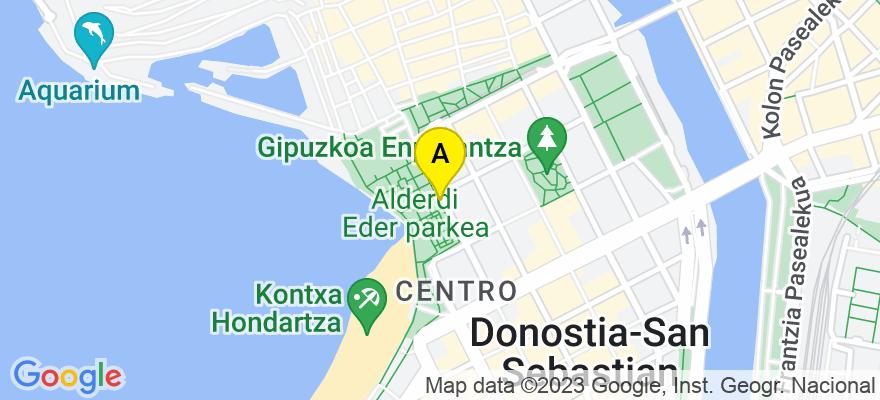 situacion en el mapa de . Direccion: Ronda,1-1º, 20001 Donostia/San Sebastián. Guipúzcoa