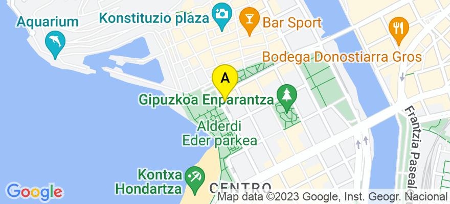 situacion en el mapa de . Direccion: Calle Hernani, 7-bajo, 15-A, 20004 Donostia/San Sebastián. Guipúzcoa