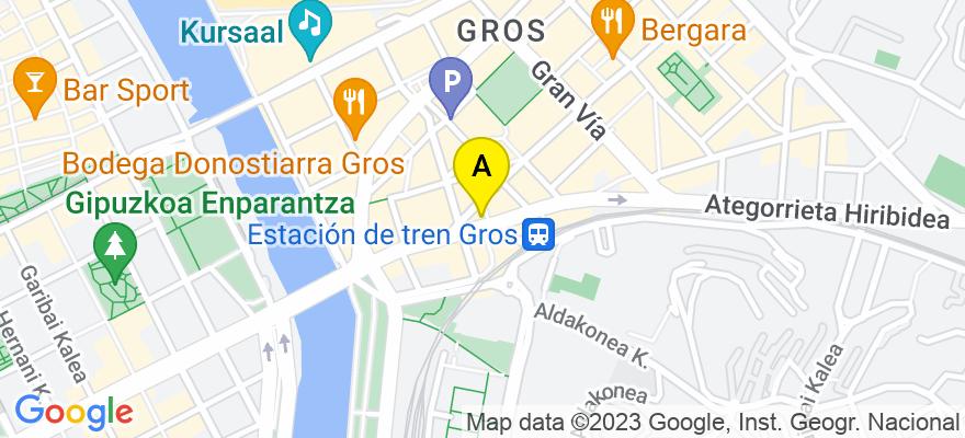 situacion en el mapa de . Direccion: Plaza Pinares, Nº 1, 4º Piso-oficina 4, 20001 Donostia/San Sebastián. Guipúzcoa