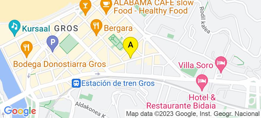 situacion en el mapa de . Direccion: José María Soroa, 15 - bajo, 20013 Donostia/San Sebastián. Guipúzcoa