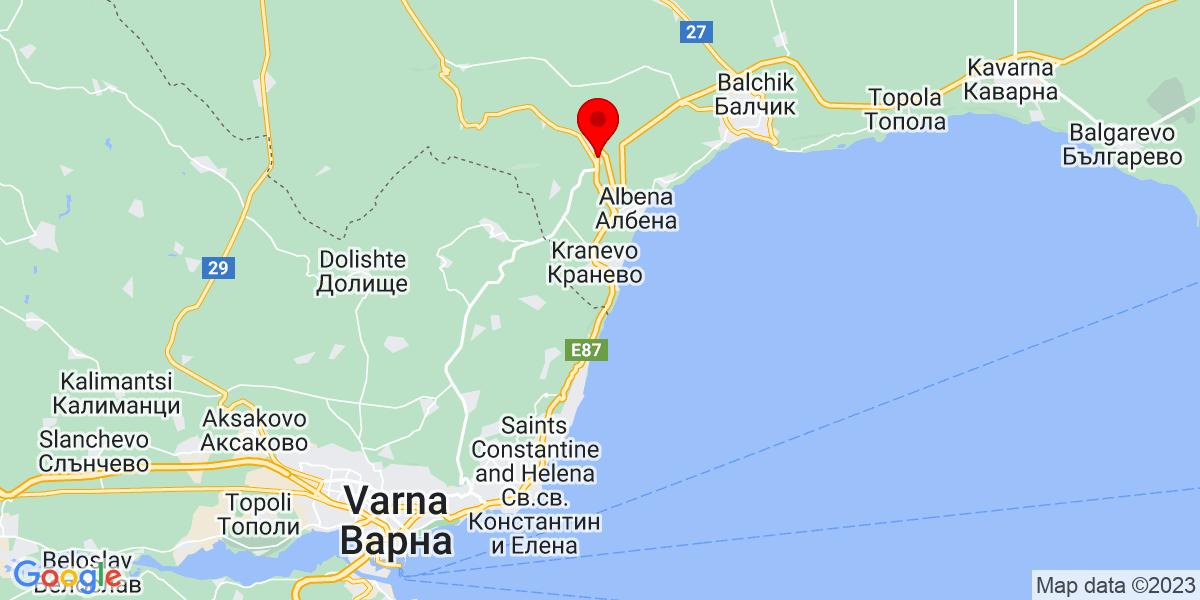 Google Map of 43.324371312985884, 28.054769484066398