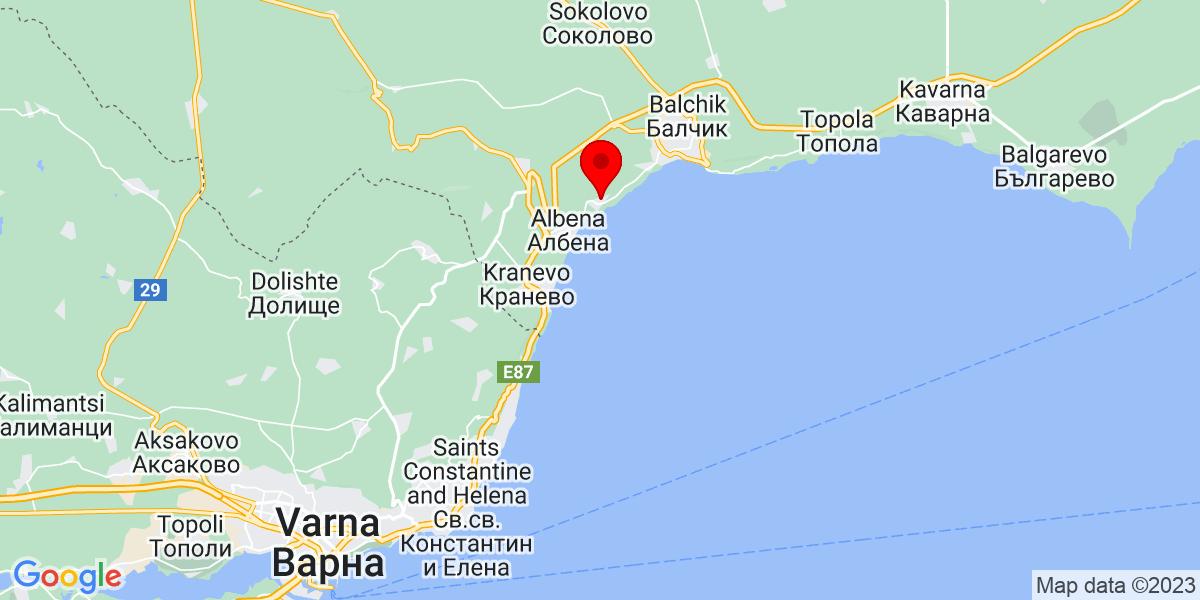Google Map of 43.33505659077575, 28.102075132077747