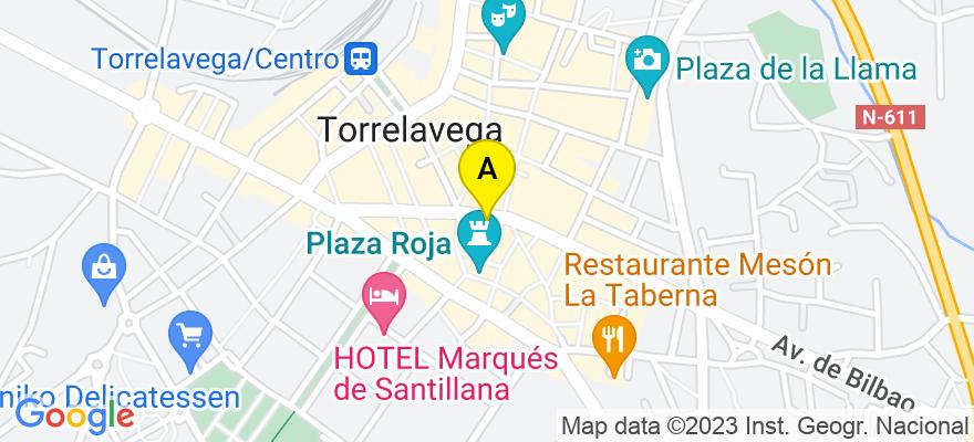 situacion en el mapa de . Direccion: Julián Ceballos nº.22,3º, 39300 Torrelavega. Cantabria