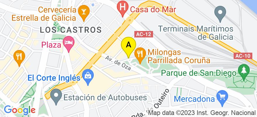 situacion en el mapa de . Direccion: Rio Monelos, 18, 15006 A Coruña. A Coruña