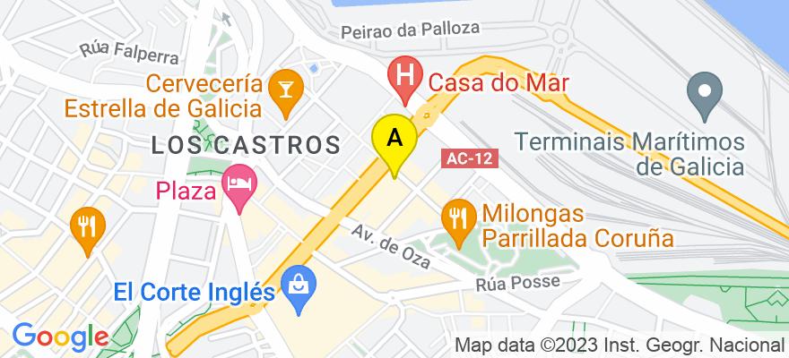 situacion en el mapa de . Direccion: Nicomedes Pastor Díaz 6 bajo, 15006 A Coruña. A Coruña