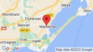 Carte de localisation du centre de contrôle technique MARSEILLAN
