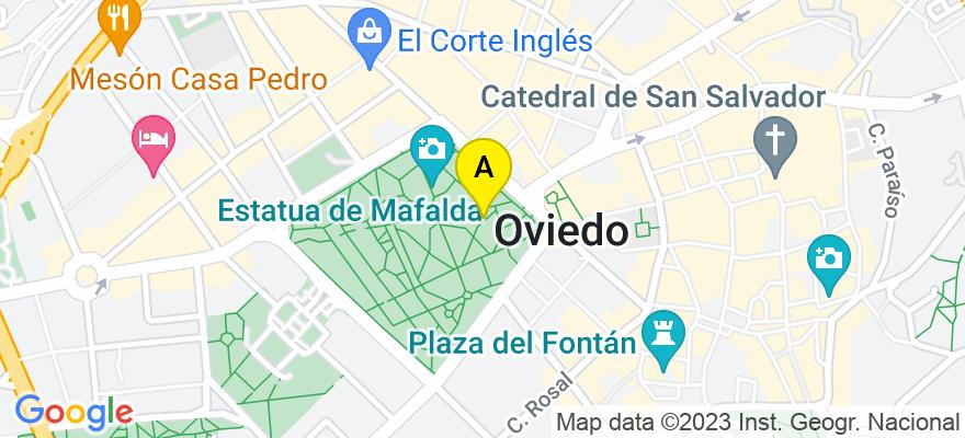 situacion en el mapa de . Direccion: Calle Uria 19, Entlo. Izda, 33003 Oviedo. Asturias