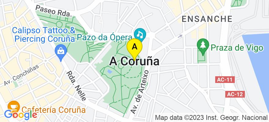 situacion en el mapa de . Direccion: Av. de Oza nº4, 6ºB, 15006 A Coruña. A Coruña