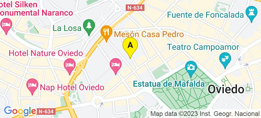 situacion en el mapa de . Direccion: C/arquitecto reguera n°1- 3° a, 33004 Oviedo. Asturias