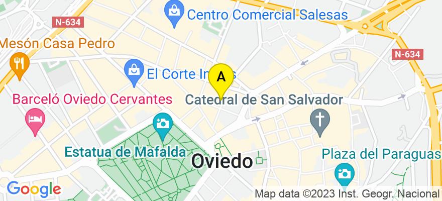 situacion en el mapa de . Direccion: C/ Alonso Quintanilla 3, 3º I, 33002 Oviedo. Asturias