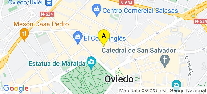 situacion en el mapa de . Direccion: C/Palacio Valdes 6-1B, 33002 Oviedo. Asturias