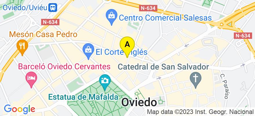 situacion en el mapa de . Direccion: Calle Posada Herrera, 3, 1º A, 33002 Oviedo. Asturias