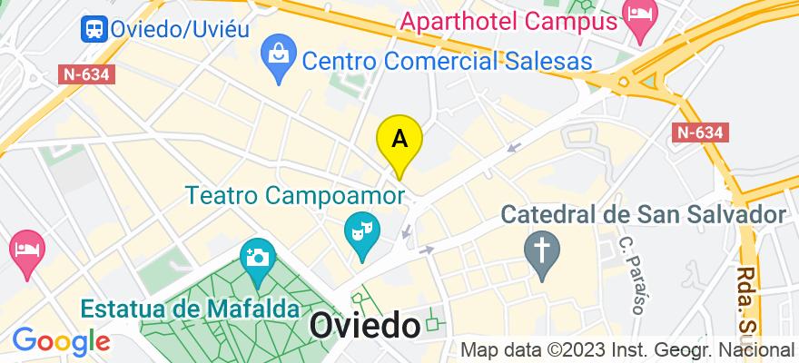 situacion en el mapa de . Direccion: c/Santa Clara 8, 1º A, 33001 Oviedo. Asturias