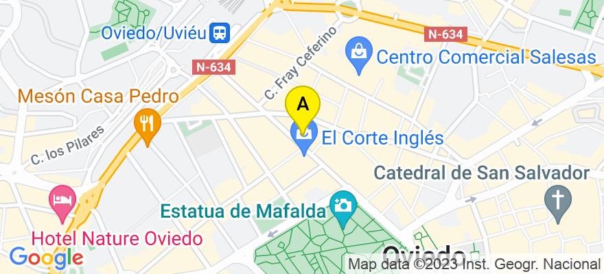 situacion en el mapa de . Direccion: C/ URIA Nº 50-2º OFICINA 2, 33003 Oviedo. Asturias
