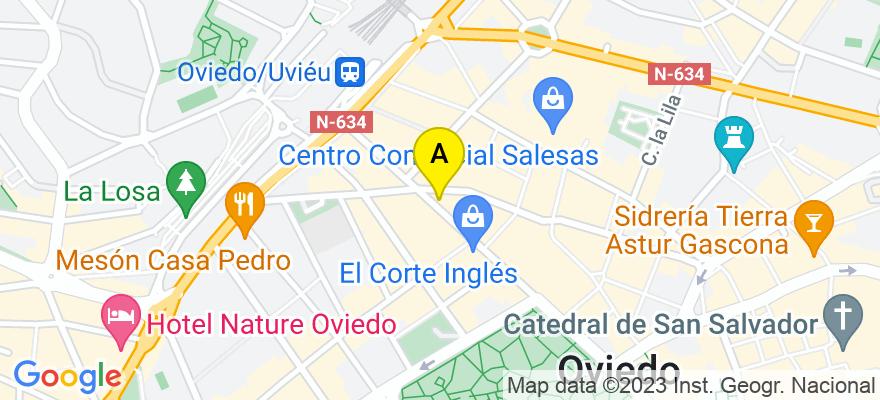 situacion en el mapa de . Direccion: C/ Uría nº 60, 1º G, 33002 Oviedo. Asturias