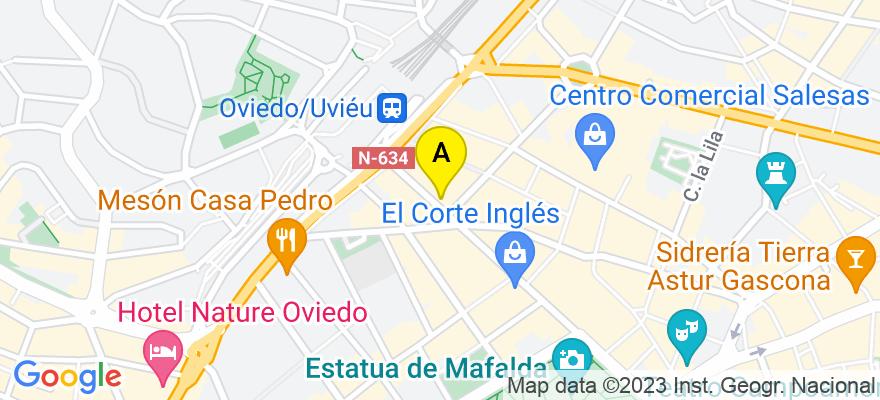 situacion en el mapa de . Direccion: Calle Uría, 66-2°B, 33003 Oviedo. Asturias