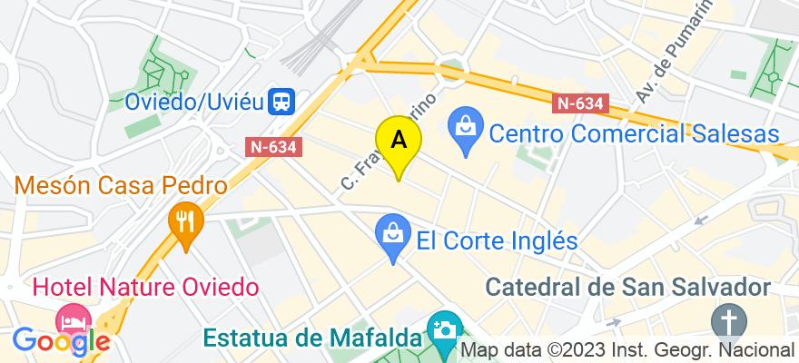 situacion en el mapa de . Direccion: Calle Campoamor 9, 2º, 33001 Oviedo. Asturias