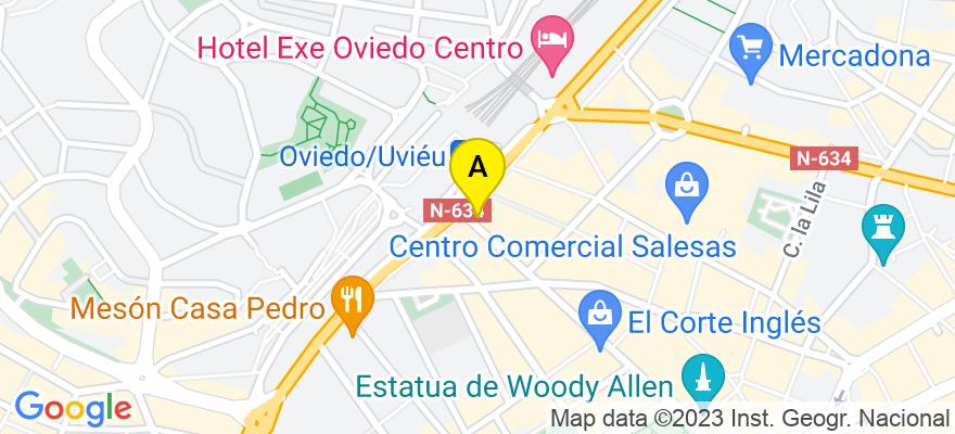 situacion en el mapa de . Direccion: Uria, 76, 2º, 33003 Oviedo. Asturias