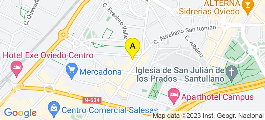 situacion en el mapa de . Direccion: Avenida de Pumarín, 33 3º J, 33011 Oviedo. Asturias