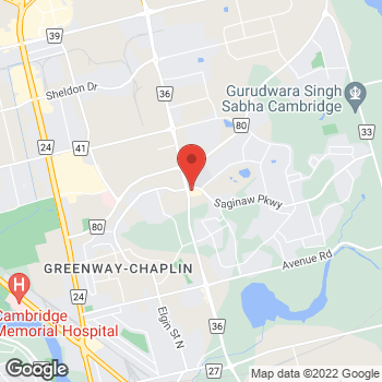 Map of Tim Hortons at 825 Saginaw Pkwy, Cambridge, ON N1T 0E2